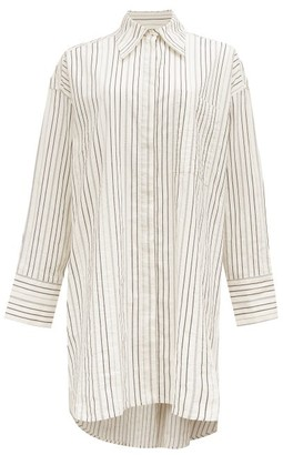 Ssone - Oversized Striped Cotton-blend Shirt - White/blue