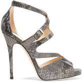 Jimmy Choo Metallic snake-effect leather sandals