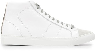 P448 suede-panel high top trainers