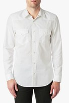 7 For All Mankind Long Sleeve Solid Western Shirt In White