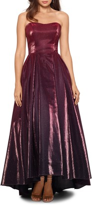 Betsy & Adam Strapless Ombre High/Low Gown