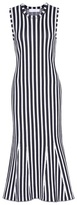 Victoria Beckham Wide stripe intarsia fitted kick dress