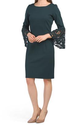 Lace Cuff Sheath Dress