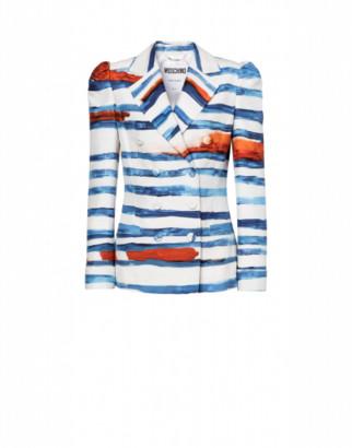 Moschino Blue Stripes Cady Jacket Woman Blue Size 38 It - (4 Us)