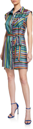 Milly Rainbow Stripes Sleeveless Twill Shirtdress