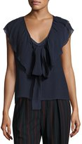 See by Chloe V-Neck Tie-Front Ruffled Chiffon Top, Blue