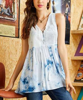 Suzanne Betro Weekend Women's Tunics 101WHITE/NAVY - White & Navy Tie-Dye Crochet-Overlay Tassel Tunic - Women & Plus