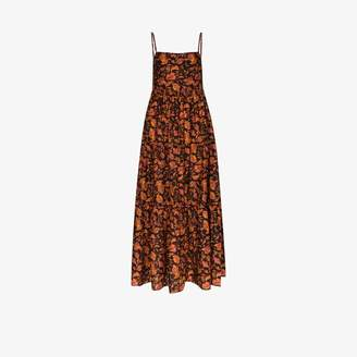 Matteau printed square neck cotton maxi dress