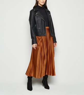 New Look Satin Pleated Wrap Midi Skirt