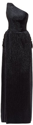 Maria Lucia Hohan Othilia One-shoulder Plisse-lame Maxi Dress - Womens - Navy