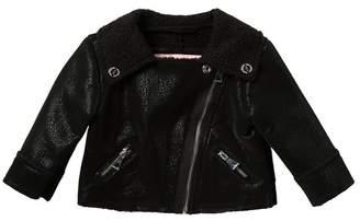 Urban Republic Faux Leather Fleece Lined Moto Jacket (Baby Girls)