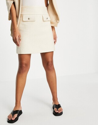 And other stories & organic blend cotton co-ord flap pocket mini skirt in cream