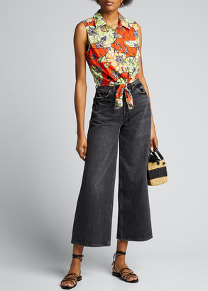 Warm Lou Printed Tie-Front Blouse