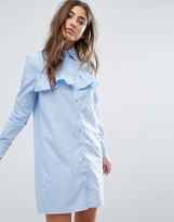 Boohoo Frill Front Shirt Dress
