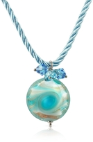 Murano House of Vortice - Turquoise Glass Small Swirling Bead Necklace