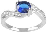 Journee Collection 1 1/5 CT. T.W. Round-cut Cubic Zirconia Twist Accent Prong Set Ring in Sterling Silver - Blue