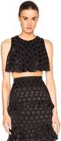Cushnie et Ochs Satin Dot Cropped Top