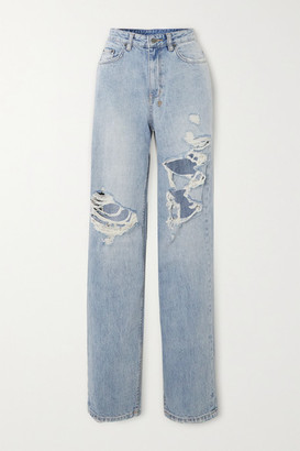 Ksubi Playback Kut Up Distressed High-rise Straight-leg Jeans - Light denim