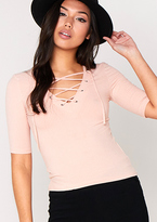 Missy Empire Aliya Nude Lace Up Short Sleeve Top