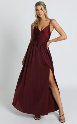 Showpo Revolve Around Me Dress in wine - 6 (XS) Bridesmaid