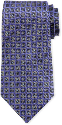 Ermenegildo Zegna Jacquard Boxes Silk Tie, Purple