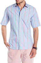 Tailorbyrd Short Sleeve Stripe Trim Fit Woven Shirt