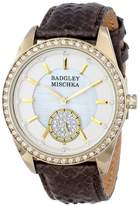 Badgley Mischka Women's BA/1316WMBN Swarovski Crystal Accented Gold-Tone Brown Snakeskin Strap Watch
