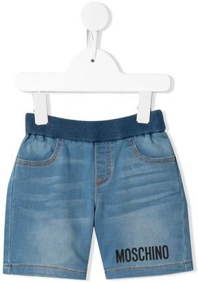 MOSCHINO BAMBINO Pull-On Logo Denim Shorts
