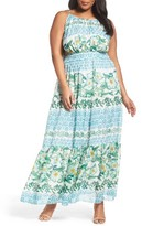 Eliza J Plus Size Women's Print Tiered Halter Maxi Dress