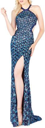 Mac Duggal Sequin Strappy Column Dress