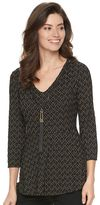 Dana Buchman Women's Jacquard Peplum Necklace Top
