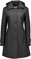 Larry Levine Black Side-Tab Quilted Coat