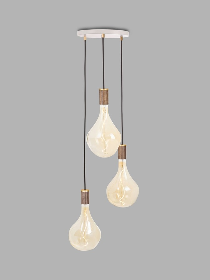 Tala Walnut Triple Pendant Cluster Ceiling Light with Voronoi II 3W ES LED Dimmable Tinted Bulbs