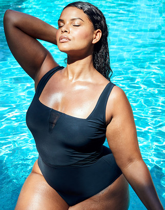 Figleaves Icon Positano Non-Wired Square Neck Mesh Insert Shaping Swimsuit - Curve