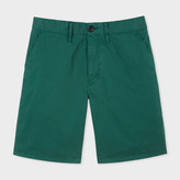 Paul Smith Men's Green Garment-Dyed Stretch Pima-Cotton Shorts