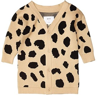 HUXBABY Animal Spot Knit Cardi (Infant/Toddler) (Sand) Girl's Clothing