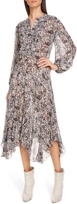 Isabel Marant Atoile Lizete Long Sleeve Handkerchief Hem Midi Dress