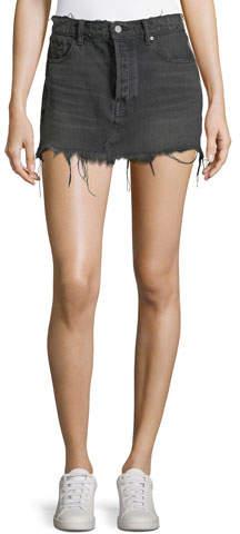 Alexander Wang Five-Pocket Raw-Edge Denim Mini Skirt