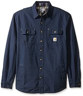 Carhartt Men's Big & Tall Weathered Canvas Shirt Jacket Snap Front