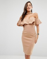 Rare London Bardot Frill Plunge Pencil Dress With Choker Detail