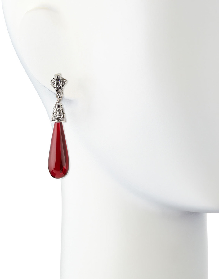 Kenneth Jay Lane Pave-Detail Raindrop Earrings, Ruby