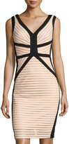 Jax Sleeveless Eyelet Sheath Dress W/Stripes, Nude