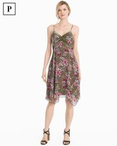 White House Black Market Petite Strappy Velvet Trim Floral Dress