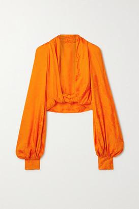 ATTICO Twist-front Cutout Satin-jacquard Top - Orange