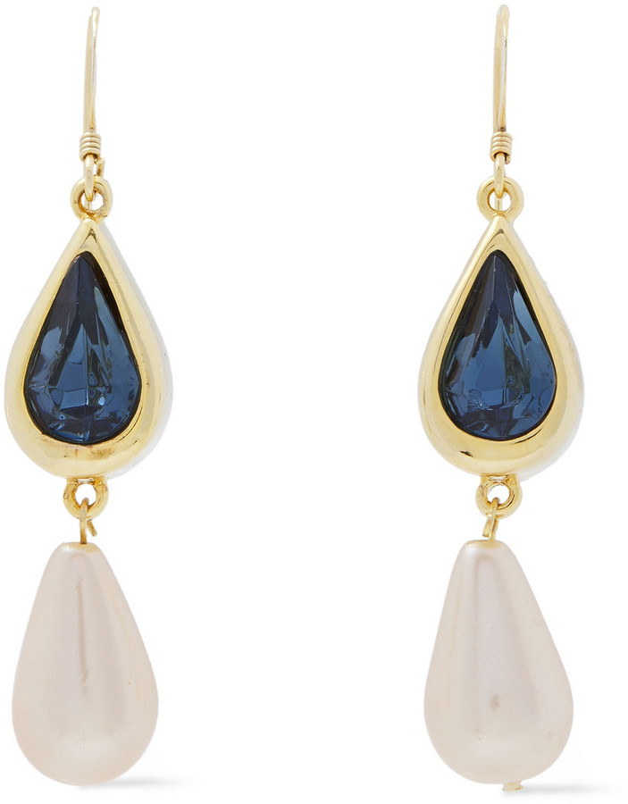 Kenneth Jay Lane 22-karat Gold-plated, Crystal And Faux Pearl Earrings