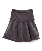 Charcoal Corduroy Fringe Skirt - Girls