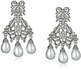 Kenneth Jay Lane Bride Simulated White Pearl Crystal Bow Chandelier Dangle Drop Earrings