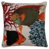 Thro French Coastal Fish Square Throw Pillow in Orange