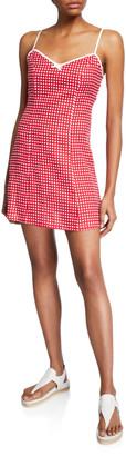 Miguelina Nadine Check Linen Sleeveless Short Dress