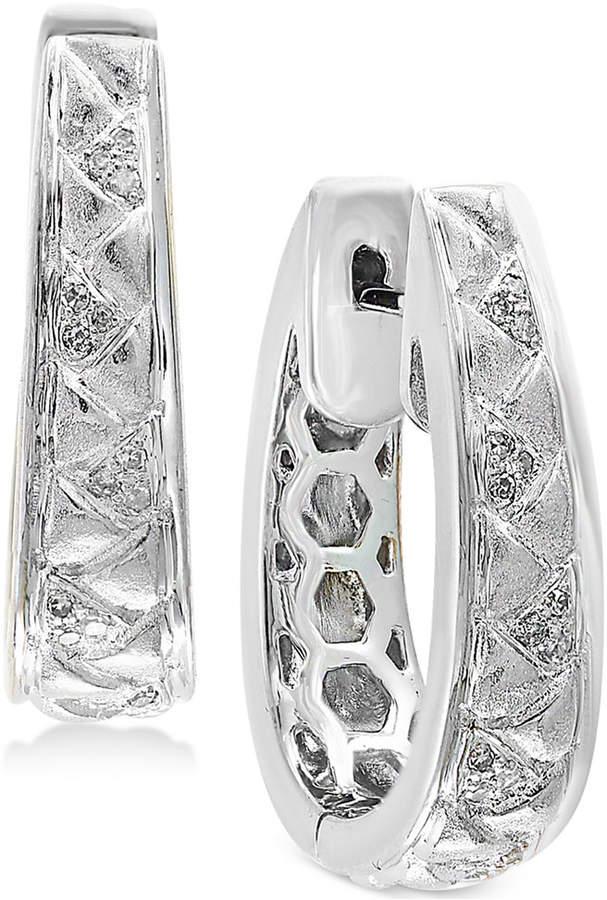 Effy Balissima by Diamond (1/8 ct. t.w.) Oval Hoop Earrings in Sterling Silver